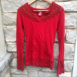 Free People Red Crochet Hoodie